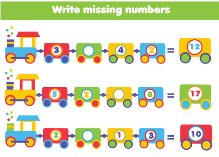Mathematics educational game for children. Complete the row, write missing numbers
