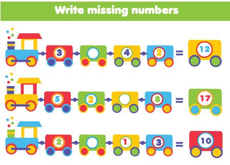Wiskunde educatief spel voor kinderen. Voltooi de rij, schrijf ontbrekende nummers Stock Illustratie
