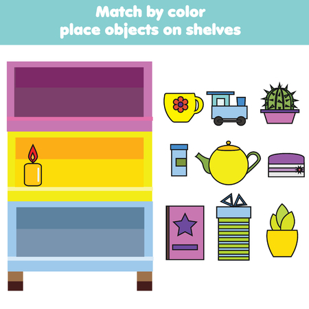 Matching children educational game. Match objects by color. Activity for pre shool years kids and toddlers
