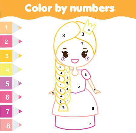 Children educational game. Coloring page with cute princess. Color by numbers, printable activity, worksheet for toddlers and pre school age
