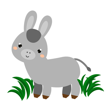 Cute donkey. Cartoon animal character. Vector illustration for kids and babies fashion.