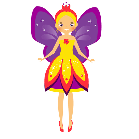 Flying fairy with purple wings. Elf princess in cartoon style. Isolated vector illustration for kids and babies