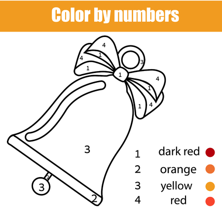 Children educational game. Coloring page with Christmas bell. Color by numbers, printable activity, worksheet for toddlers and pre school age. New year holidays theme.
