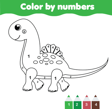 Children educational game. Coloring page with cute dinosaur. Color by numbers, printable activity, worksheet for toddlers and pre school age.