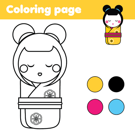 Coloring page with Japanese Kokeshi doll. Color the picture. Educational children game, drawing kids activity, printable sheet.