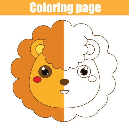 Coloring page with lion. Color the picture. Educational children game, drawing kids activity, printable sheet. Stok Fotoğraf - 88755579