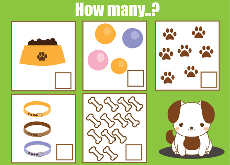 Counting educational children game, math kids activity sheet. How many objects task. Learning mathematics, numbers, addition theme.