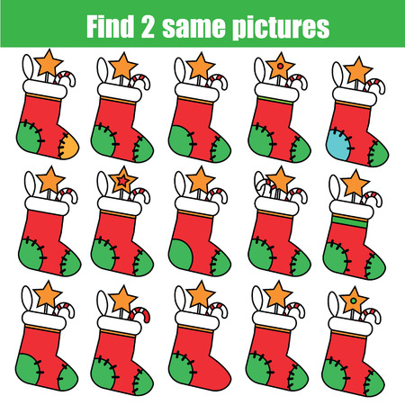 Find the same pictures children educational game. Find equal pairs of christmas socks kids activity. New Year winter holidays theme. Vectores