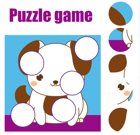 Puzzle for toddlers. Children educational game. Match pieces and complete the picture. Activity for pre school years kids. Animals theme.