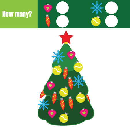 Counting educational children game, kids activity worksheet. How many objects task. Christmas, new year winter holidays theme. Learning mathematics, numbers, addition theme.