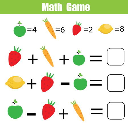 Mathematics educational game for children. Mathematical counting equations worksheet for kids. Reklamní fotografie - 88755844
