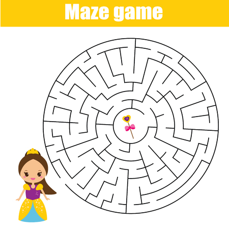 Maze children game: help princess go through the labyrinth and find magic stick. Kids activity sheet.