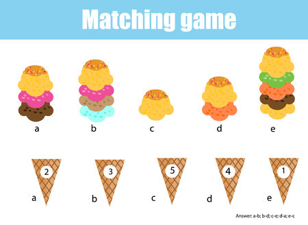 Math educational game for children. Matching mathematics activity. Counting game for kids. Match ice cream with cone. Illustration