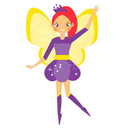 Flying fairy with yellow wings. Elf princess in cartoon style. Isolated vector illustration for kids and babies.