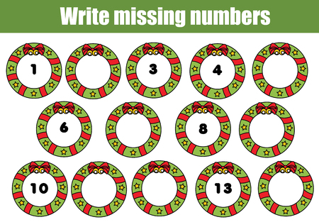 Mathematics educational game for children. Complete the row, write missing numbers. Christmas theme Ilustração