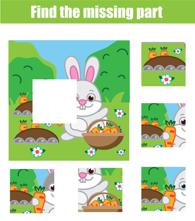 Puzzle for toddlers. Matching children educational game. Match pieces and complete the picture. Activity for pre school years kids with rabbit and carrots