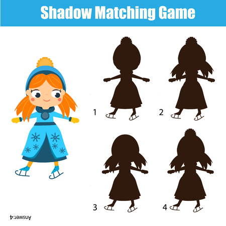 Shadow matching game for children. Find the right shadow. Activity for preschool kids with ice skating girl