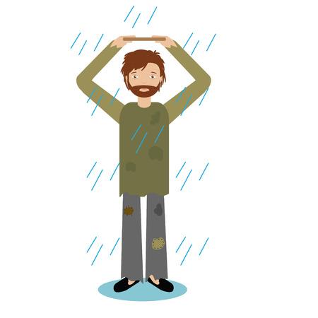 Homeless man standing in rain Vector illustration