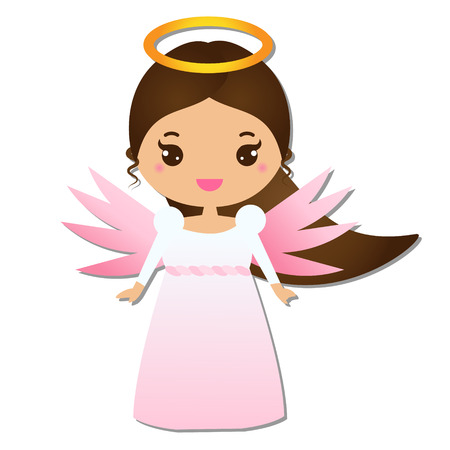 Cute angel. Kawaii style. Paper figure, sticker. Design element for greeting cards, communion, christening, Christmas and other