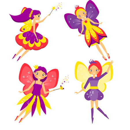 Beautiful flying fairy set. Winged Elf princesses. Cartoon style. Isolated vector illustration for kids and babies Illustration