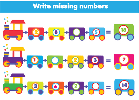 Mathematics educational game for children. Complete the row, write missing numbers.