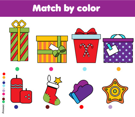 Matching children educational game. Match by color kids activity. New Year, Christmas gifts theme.