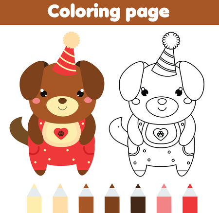 Coloring Page With Cute Dog In Party Hat Color The Picture Educational Children Game