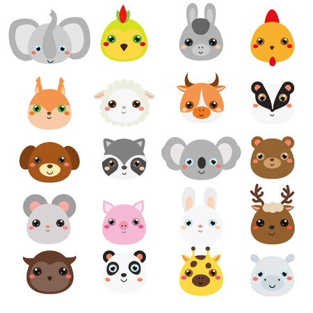 Cute animals faces. Big set of cartoon wildlife and farm animals icons. Stickers, emoji. design elements for kids.