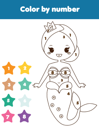 Children educational game. Coloring page with mermaid. Color by numbers, printable activity, worksheet for toddlers and preschool age.  イラスト・ベクター素材