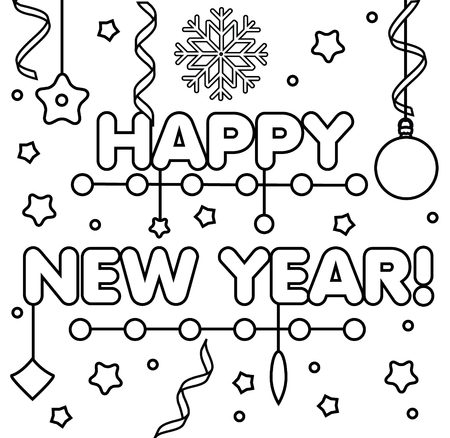 Coloring page with happy New Year text, snowflakes and bubbles. Color the picture. Educational children game, drawing kids activity, printable sheet. Vectores