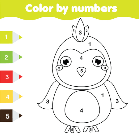 Children educational game. Coloring page with parrot. Color by numbers, printable activity, worksheet for toddlers and preschool age.