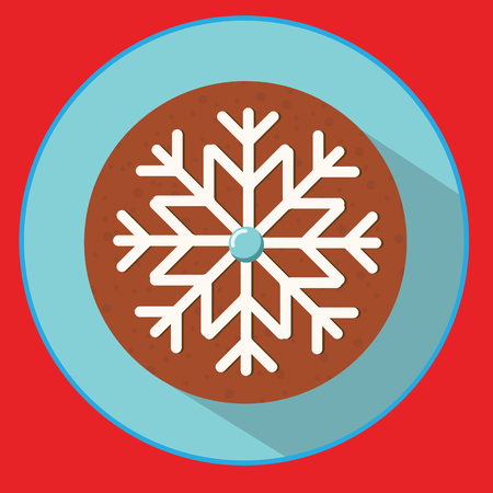 Christmas cookie, gingerbread snowflake. Flat vector icon with long shadow. New Year food.