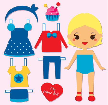 Cute girl paper doll for kids, children. Dress up the doll game.