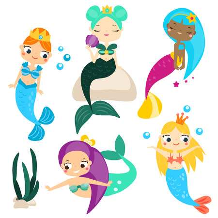 Cute cartoon mermaids. Stickers, clip art for girls in style. For invitations, scrapbook, blogging, mobile games.