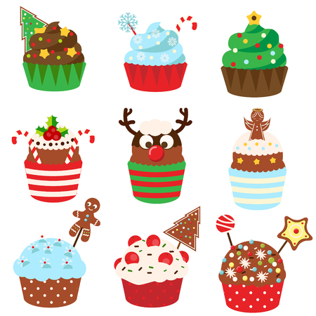 Christmas cupcakes. Sweet bakery. New Year food decorated with gingerbread, sprinkles, candy canes, sweets. 矢量图像