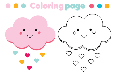 Coloring page with cute cloud. Color the picture. Educational children game, drawing kids activity, printable sheet Illustration