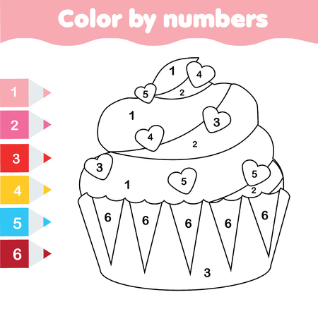 Children educational game. Coloring page with Valentine's day cupcake. Color by numbers, printable activity, worksheet for toddlers and pre school age. 向量圖像
