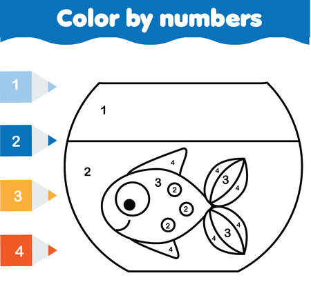 Children Educational Game. Coloring Page With Fish In Aquarium ...