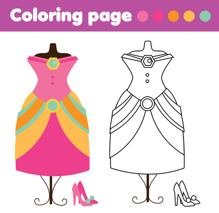 Coloring page with fashionable dress and shoes. Color the picture. Educational children game, drawing kids activity, printable sheet