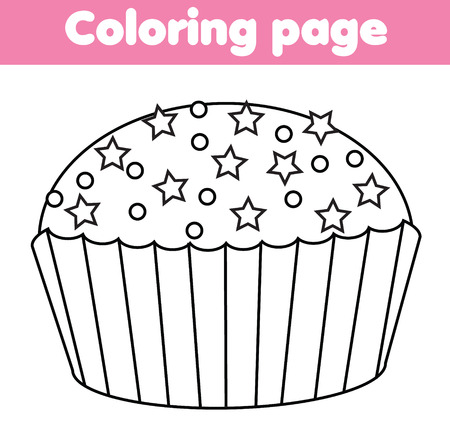Coloring Page With Cupcake. Color The Picture. Educational Children ...