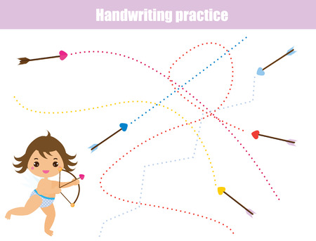 Handwriting practice sheet. Educational children game, tracing lines. Writing training printable worksheet. Valentine's day theme with cute Cupid