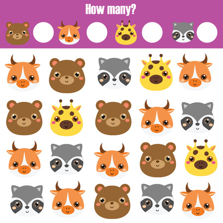 Counting educational children game, kids activity worksheet. How many objects. Learning mathematics, numbers, addition. Animals theme Illustration