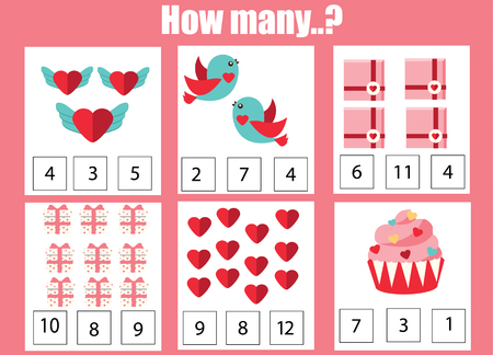 Counting educational children game, kids activity worksheet. How many objects. Learning mathematics, numbers, addition. St Valentine s day theme