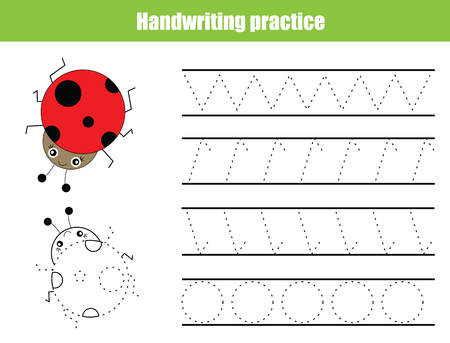 Handwriting practice sheet. Educational children game, tracing circles and zig zag. Writing training printable worksheet 일러스트