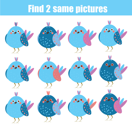 Find the same pictures kids learning game. Vectores