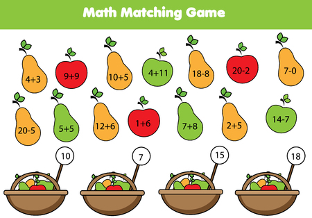 Math educational game for children. Matching mathematics activity. Counting game for kids. Vectores