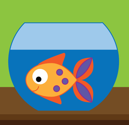 Fish in aquarium, fishbowl. Simple illustration for kids. Learning animals