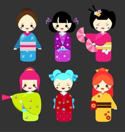 Cute kawaii kokeshi dolls. Traditional japanese dolls. Girls in kimono. Vector illustration Illustration