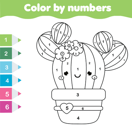 Children educational game. Coloring page with cute cactus. Color by numbers, printable activity, worksheet for toddlers and pre school age Иллюстрация