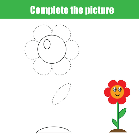 Complete the picture children's educational game, coloring page.